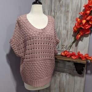 Apt. 9 mauve open-weave short-sleeved sweater